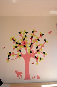 Baum aufkleben